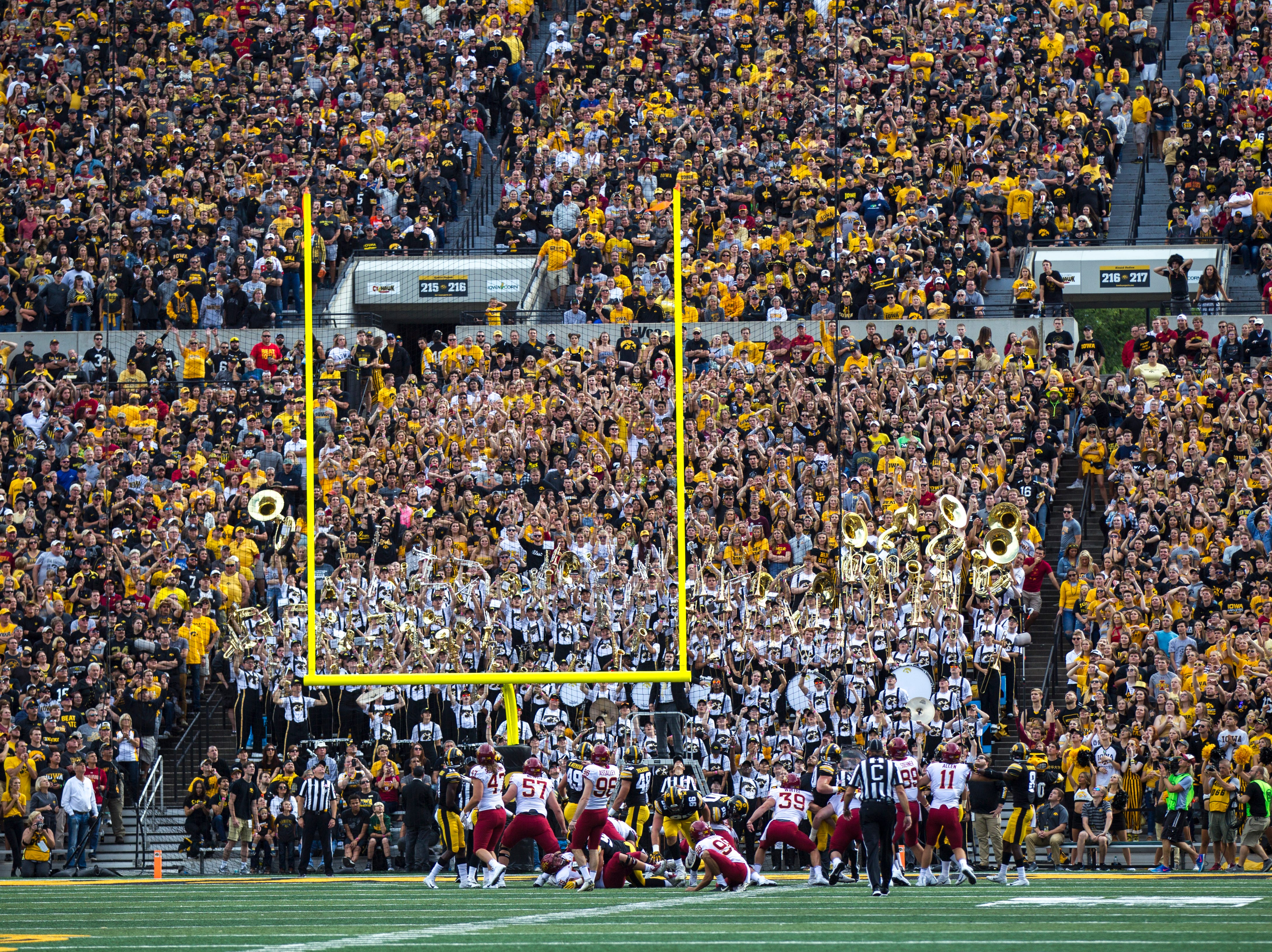 Iowa State place kicker Connor Assalley (96) watches as his field goal goes through the up rights during the Cy-Hawk NCAA football game on Saturday, Sept. 8, 2018, at Kinnick Stadium in Iowa City.
