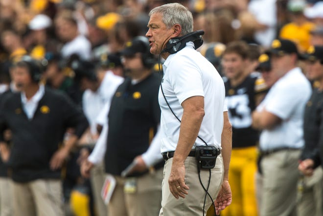 Iowa head coach Kirk Ferentz calls out during the Cy-Hawk NCAA football game on Saturday, Sept. 8, 2018, at Kinnick Stadium in Iowa City.