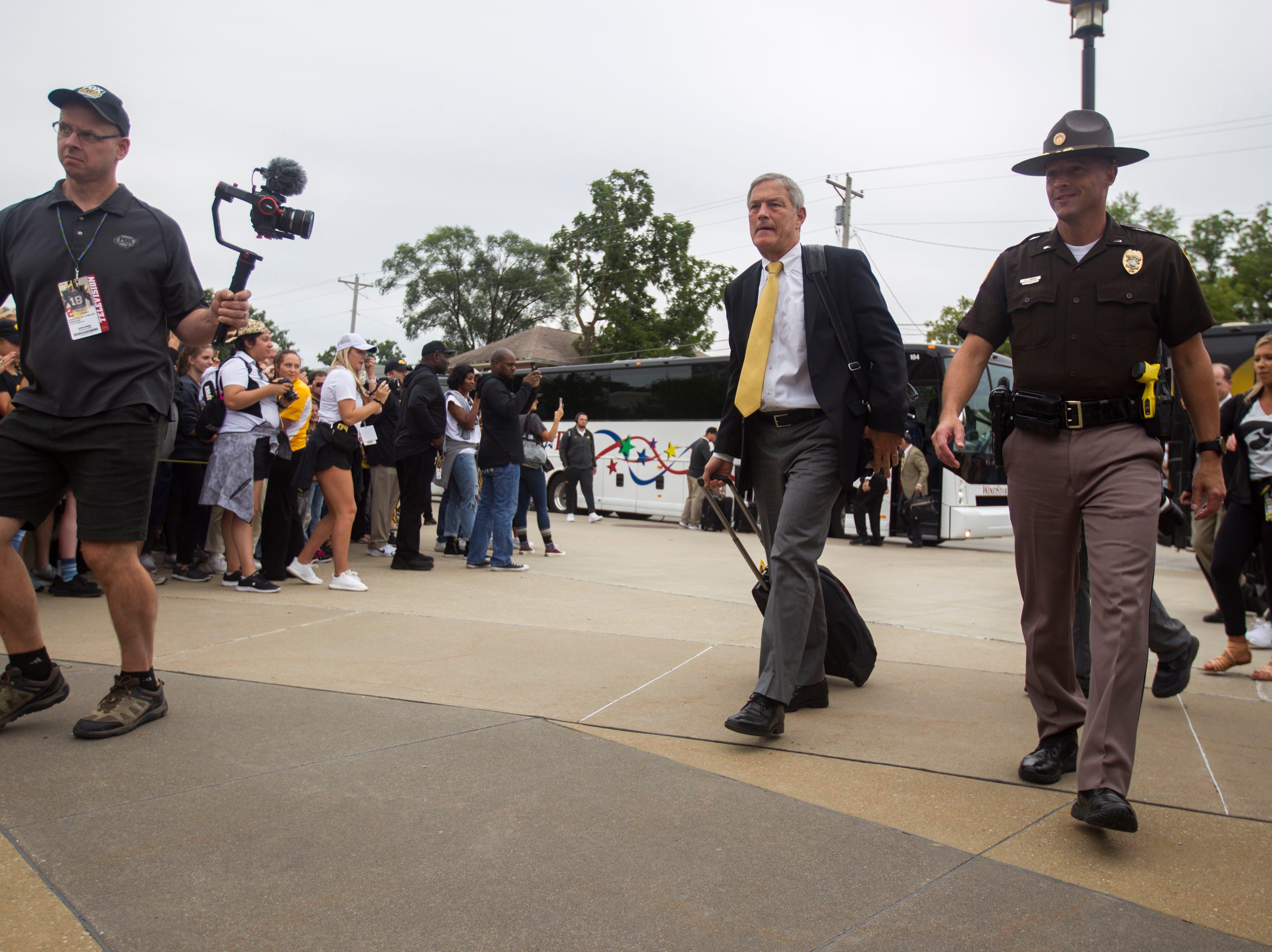Iowa head coach Kirk Ferentz walks into the stadium before the Cy-Hawk NCAA football game on Saturday, Sept. 8, 2018, at Kinnick Stadium in Iowa City.