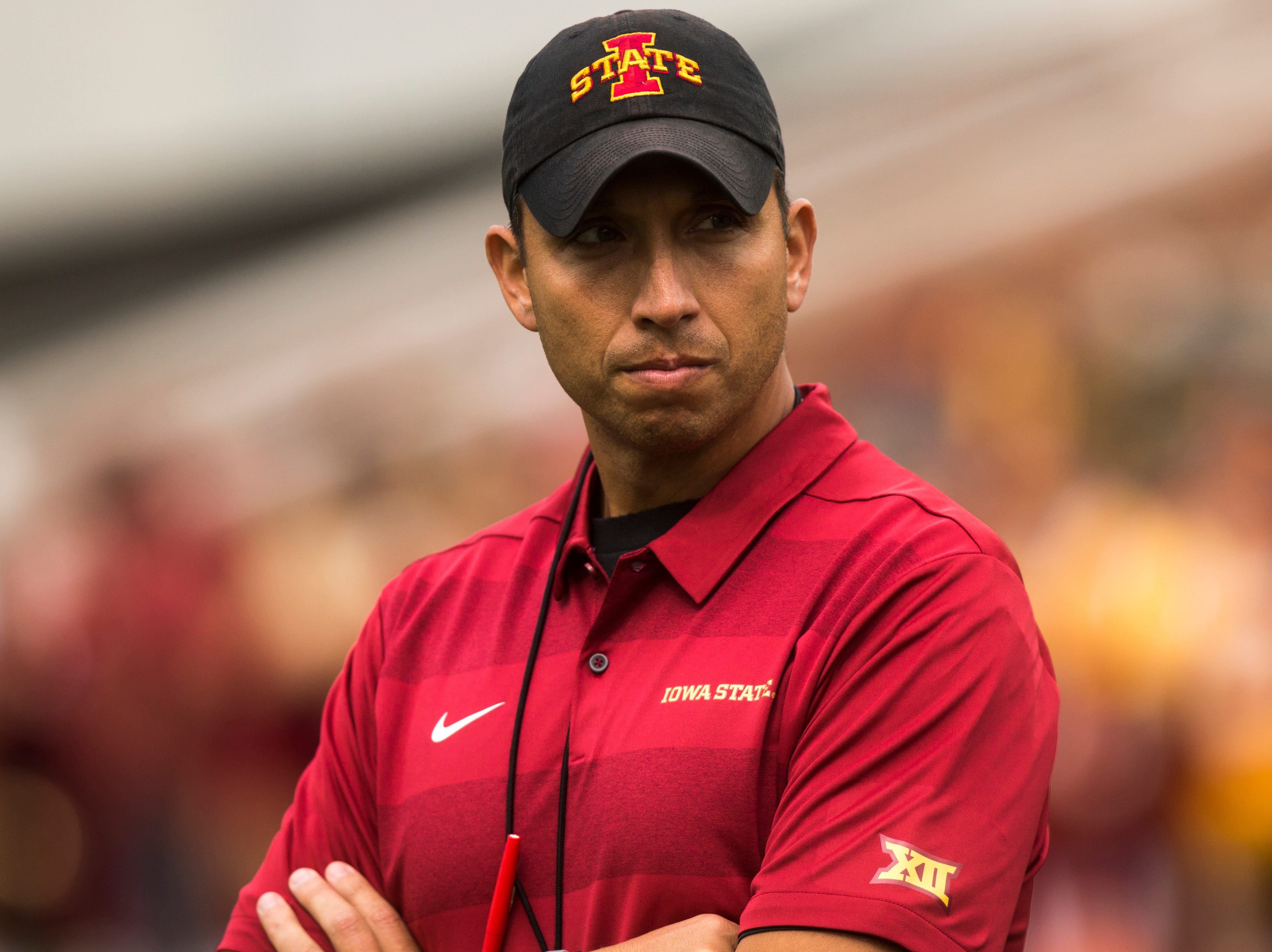 Iowa State head coach Matt Campbell watches players warm up before the Cy-Hawk NCAA football game on Saturday, Sept. 8, 2018, at Kinnick Stadium in Iowa City.