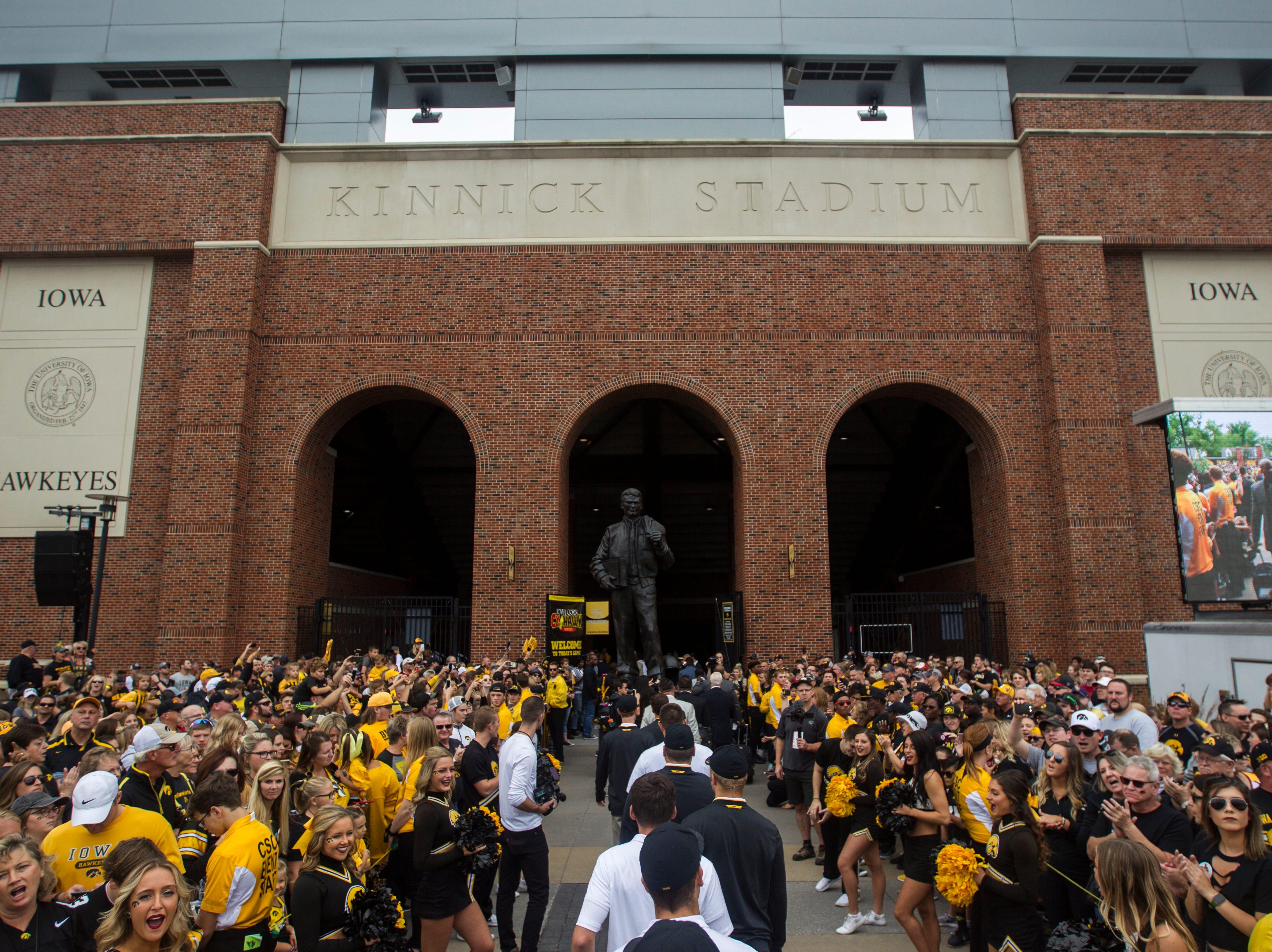 Iowa Hawkeye arrive at the stadium before the Cy-Hawk NCAA football game on Saturday, Sept. 8, 2018, at Kinnick Stadium in Iowa City.