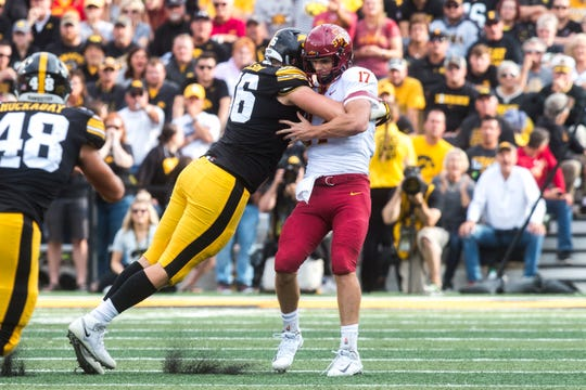 His sack numbers went down after being moved inside to defensive tackle, but Matt Nelson made this memorable, crunching sack of Iowa State's Kyle Kempt earlier this season.