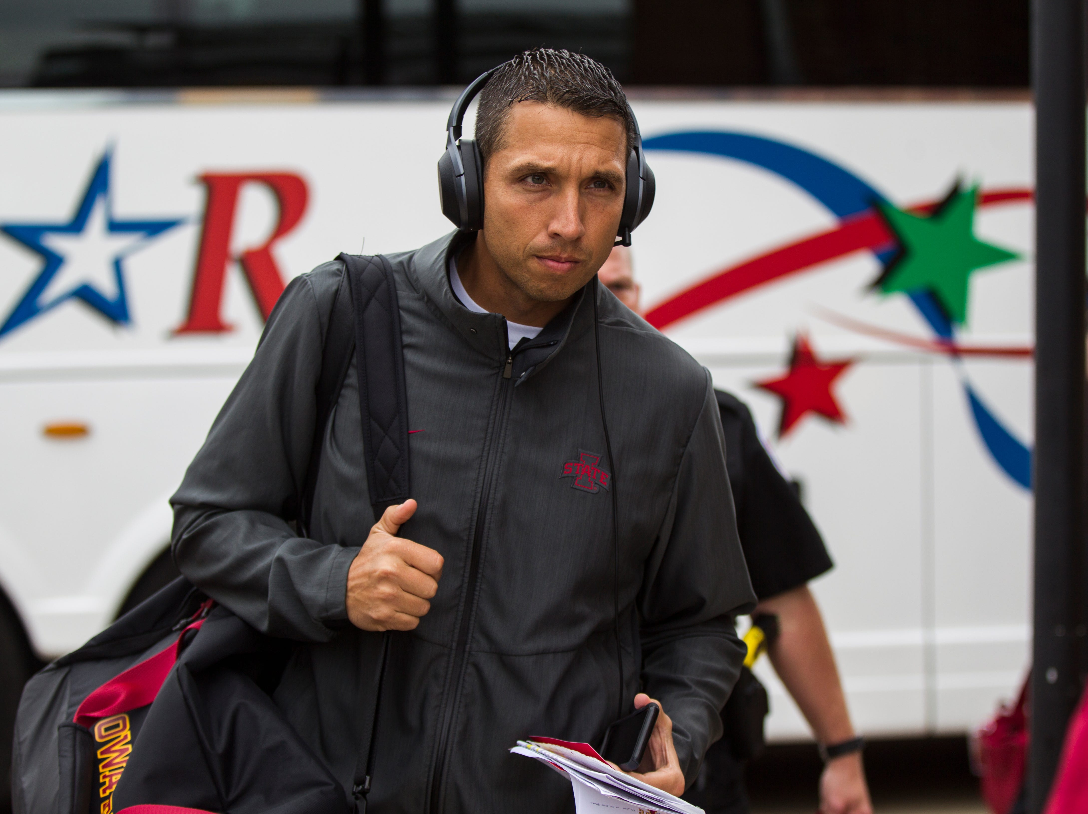 Iowa State head coach Matt Campbell walks into the stadium before the Cy-Hawk NCAA football game on Saturday, Sept. 8, 2018, at Kinnick Stadium in Iowa City.