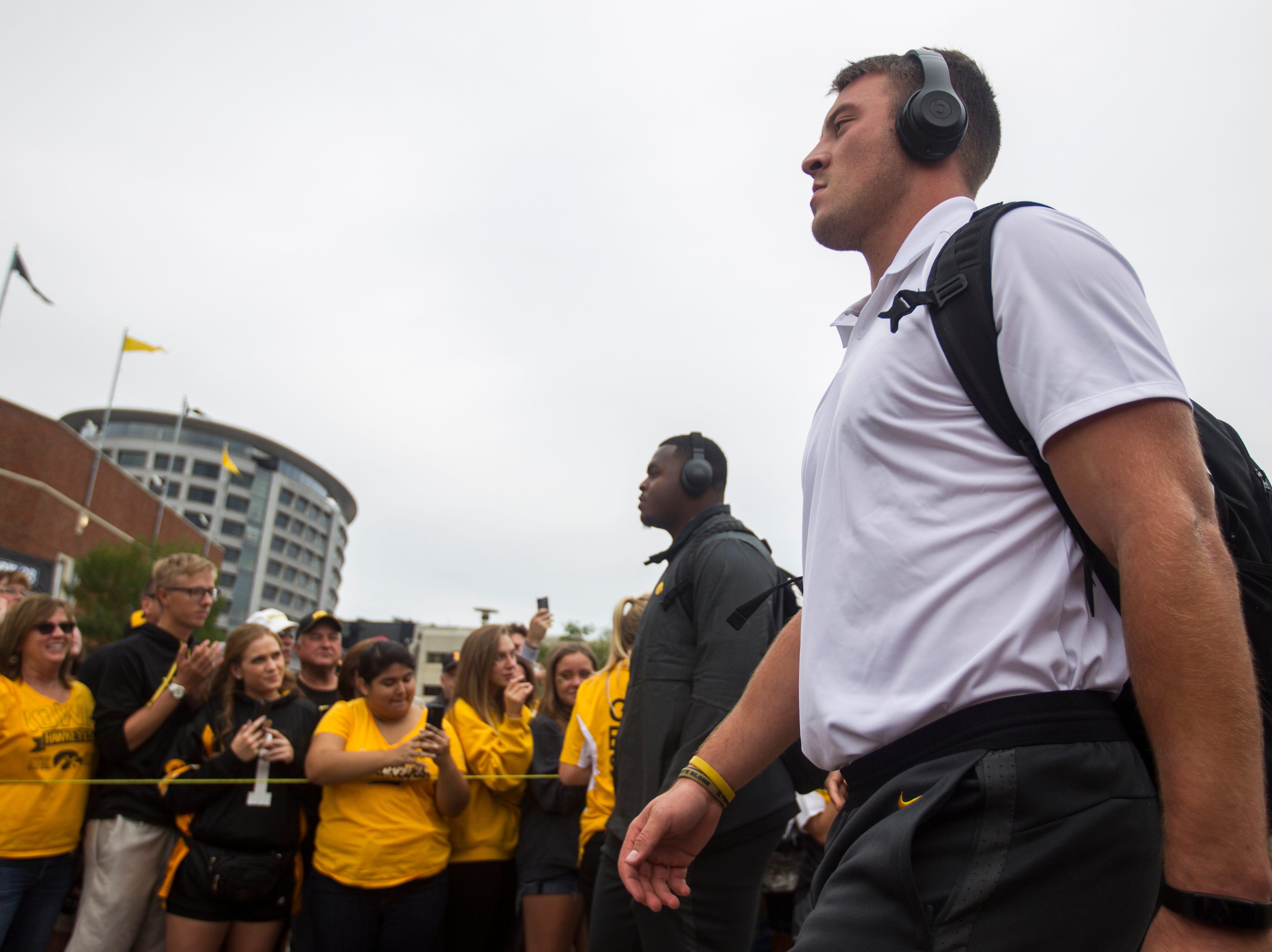 Iowa's Kristian Welch walks into the stadim before the Cy-Hawk NCAA football game on Saturday, Sept. 8, 2018, at Kinnick Stadium in Iowa City.