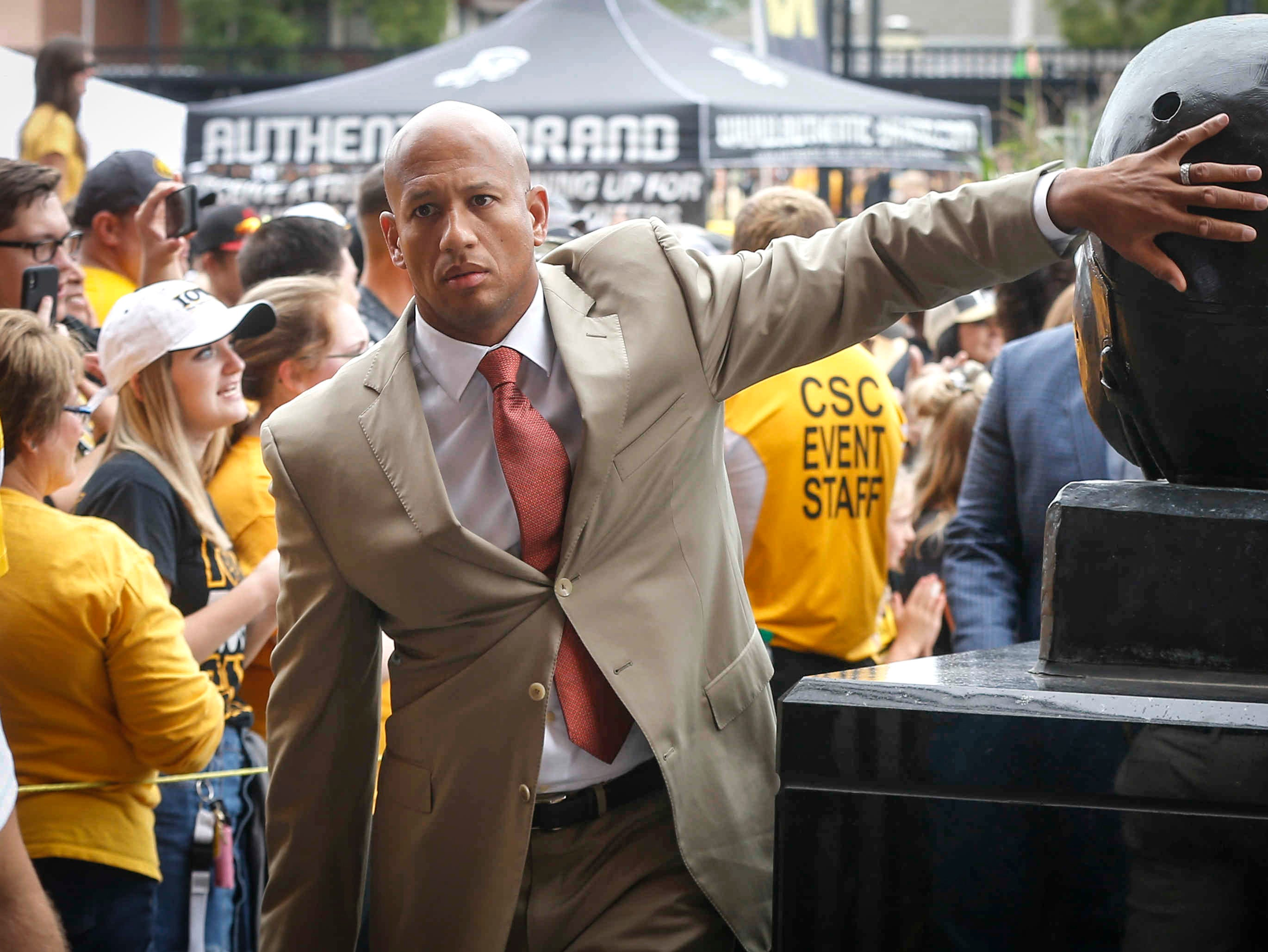 Iowa tight ends coach LeVar Woods enters the stadium prior to kickoff against Iowa State on Saturday, Sept. 9, 2018, at Kinnick Stadium in Iowa City.