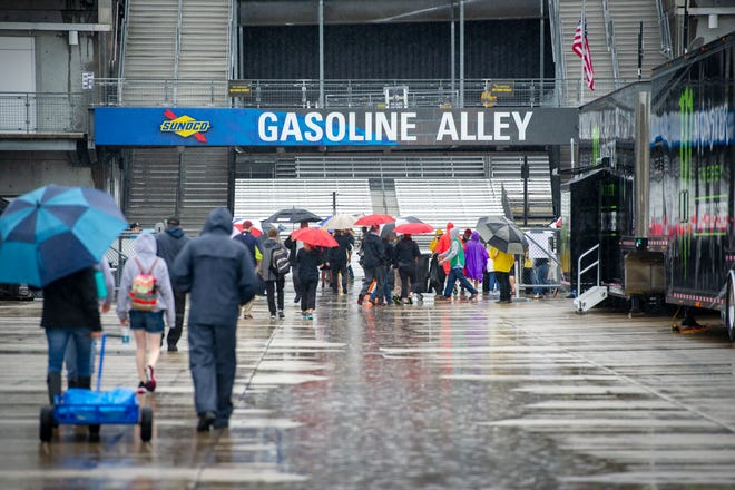 The day's activities at the Indianapolis Motor Speedway were cancelled due to relentless rain Saturday, Sept. 8, 2018. Today's Xfinity Series race has been rescheduled for Monday while the Brickyard 400 will be run on Sunday.