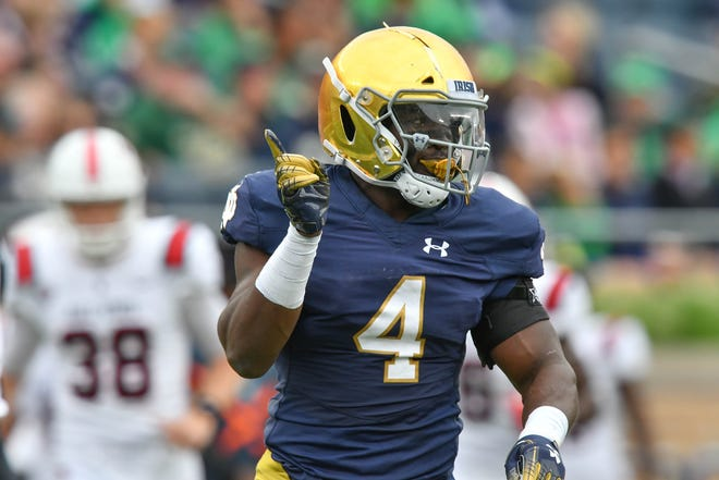 Sep 8, 2018; South Bend, IN, USA; Notre Dame Fighting Irish linebacker Te'von Coney (4) celebrates after a tackle in the first quarter against the Ball State Cardinals at Notre Dame Stadium. Mandatory Credit: Matt Cashore-USA TODAY Sports