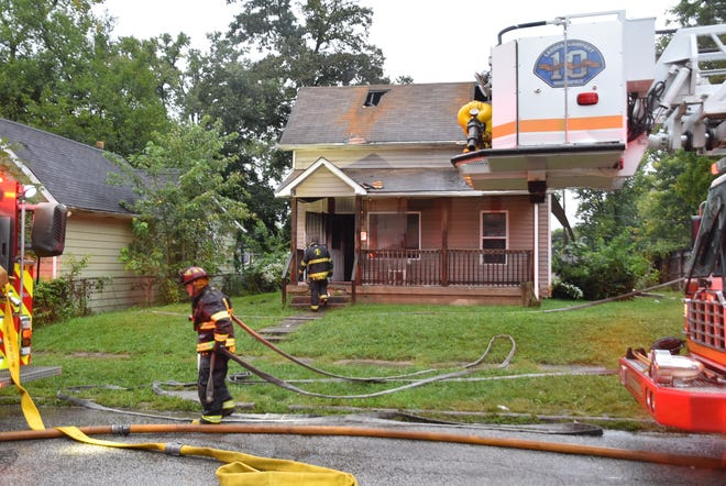 The Indianapolis Fire Department responds to a call of a house fire Sept. 8, 2018, in the 2800 block of Chester Ave.