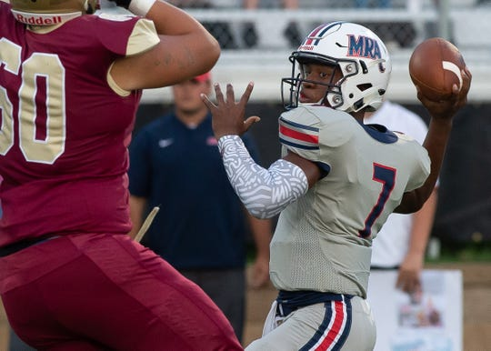Madison Ridgeland Academy quarterback Philip Short throws a pass against Hartfield Academy during game action Friday, September 7, 2018 in Flowood, MS (Bob Smith/For the Clarion Ledger)