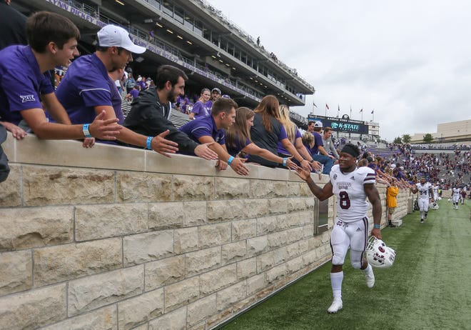 Kansas State fans congratulate Mississippi State's Kylin Hill (8) after the game. Mississippi State and Kansas State played in a college football game on Saturday, September 8, 2018, in Manhattan, Kansas. Photo by Keith Warren/Madatory Photo Credit