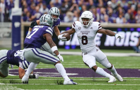 Mississippi State's Kylin Hill (8) breaks free for a long gain in the first half. Mississippi State and Kansas State played in a college football game on Saturday, September 8, 2018, in Manhattan, Kansas. Photo by Keith Warren/Madatory Photo Credit