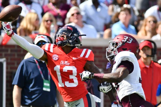 Ole Miss wide receiver Braylon Sanders (13) attempts to make a reception against Southern Illinois Salukis cornerback James Ceasar (33) during the first quarter at Vaught-Hemingway Stadium on Sept. 8, 2018, in Oxford. (Matt Bush-USA TODAY Sports)