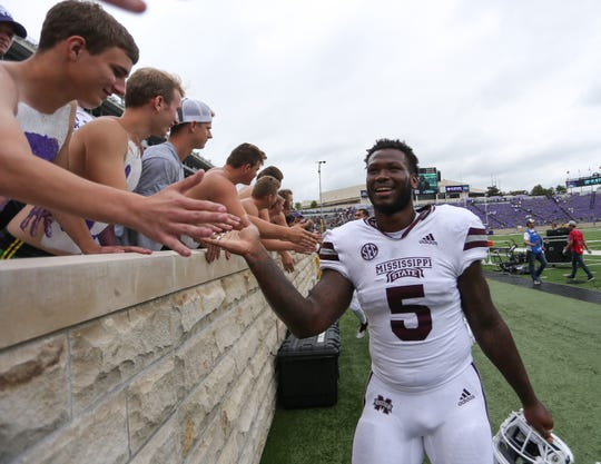 Mississippi State's Chauncey Rivers (5) shakes hands with Kansas State fans following the game. Mississippi State and Kansas State played in a college football game on Saturday, September 8, 2018, in Manhattan, Kansas. Photo by Keith Warren/Madatory Photo Credit