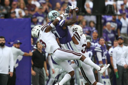 Sep 8, 2018; Manhattan, KS, USA; Mississippi State Bulldogs cornerback Cameron Dantzler (3) and safety Johnathan Abram (38) break up a pass intended for Kansas State Wildcats wide receiver Isaiah Zuber (7) the first quarter at Bill Snyder Family Stadium. Mandatory Credit: Scott Sewell-USA TODAY Sports