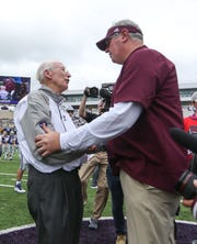 Mississippi State head coach Joe Moorhead shakes hands with Kansas State head coach Bill Snyder following the game. Mississippi State and Kansas State played in a college football game on Saturday, September 8, 2018, in Manhattan, Kansas. Photo by Keith Warren/Madatory Photo Credit