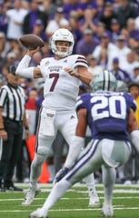Mississippi State's Nick Fitzgerald (7) throws a pass in the red zone in the first quarter. Mississippi State and Kansas State played in a college football game on Saturday, September 8, 2018, in Manhattan, Kansas. Photo by Keith Warren/Madatory Photo Credit