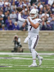 Mississippi State's Nick Fitzgerald (7) releases a pass in the first half. Mississippi State and Kansas State played in a college football game on Saturday, September 8, 2018, in Manhattan, Kansas. Photo by Keith Warren/Madatory Photo Credit