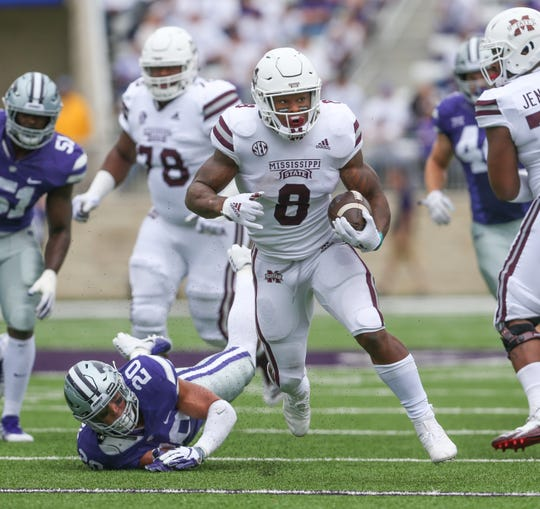 Mississippi State's Kylin Hill (8) breaks free for a touchdown in the second quarter. Mississippi State and Kansas State played in a college football game on Saturday, September 8, 2018, in Manhattan, Kansas. Photo by Keith Warren/Madatory Photo Credit