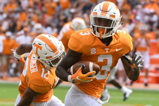 Tennessee defensive back Marquill Osborne (3) runs the ball for a touchdown during a game between Tennessee and ETSU at Neyland Stadium in Knoxville, Tennessee on Saturday, September 8, 2018.