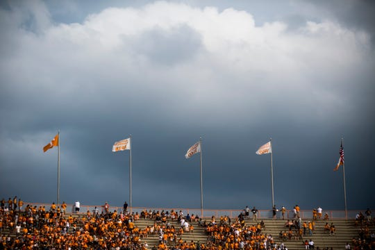 Dark clouds begin rolling over the stadium shortly before a lightning delay is issued during a game between Tennessee and ETSU at Neyland Stadium in Knoxville, Tennessee on Saturday, September 8, 2018.