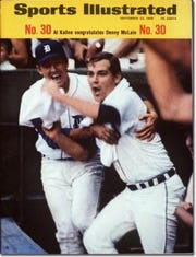 A Sports Illustrated cover in September 1968 featured Detroit Tigers first baseman Al Kaline congratulating pitcher Denny McLain, who won his 30th game.