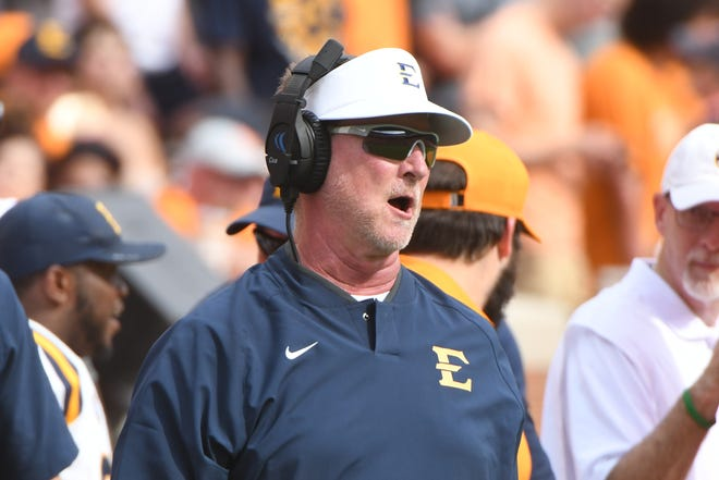 ETSU Head Coach Randy Sanders calls during a game between Tennessee and ETSU at Neyland Stadium in Knoxville, Tennessee on Saturday, September 8, 2018.
