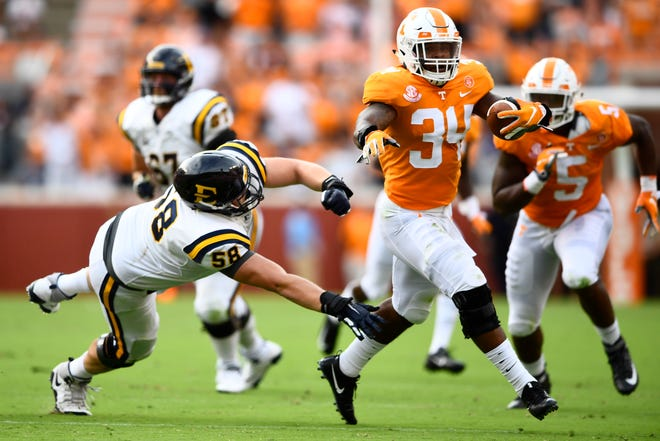 Tennessee linebacker Darrin Kirkland Jr. (34) intercepts a pass during a game between Tennessee and ETSU at Neyland Stadium in Knoxville, Tennessee on Saturday, September 8, 2018.