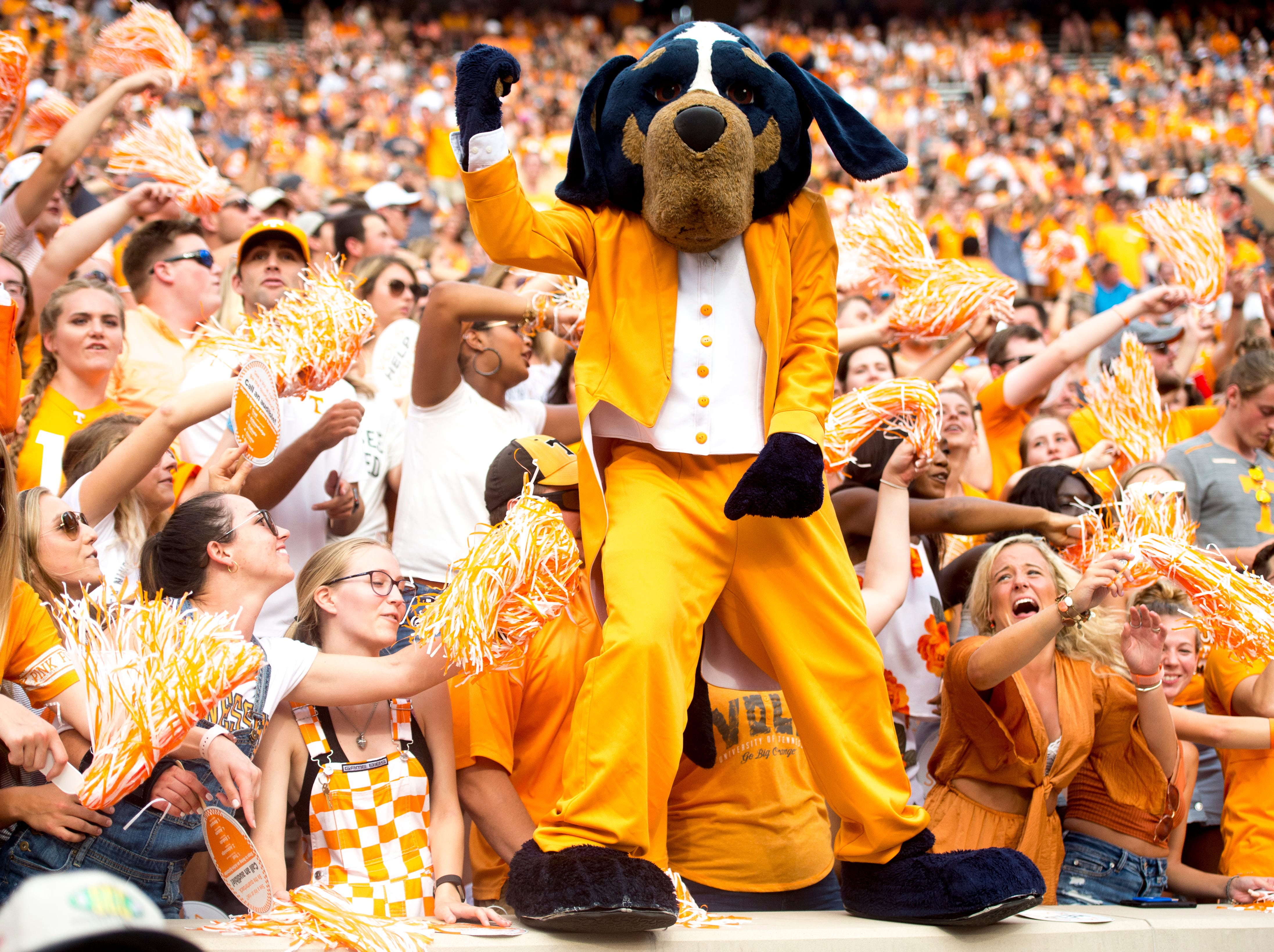 Smokey dances in the fan section during a game between Tennessee and ETSU at Neyland Stadium in Knoxville, Tennessee on Saturday, September 8, 2018.