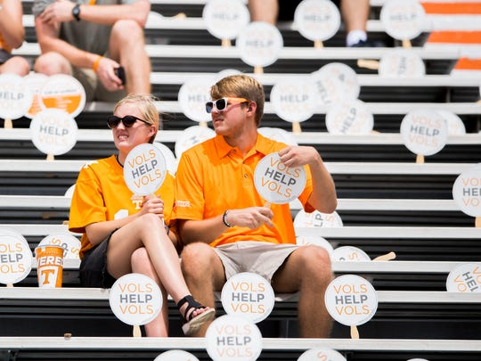 Fans before the Tennessee Volunteers' game against ETSU in Neyland Stadium on Saturday, Sept. 8, 2018.
