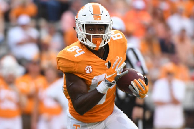 Tennessee wide receiver Josh Palmer (84) runs with the ball during a game between Tennessee and ETSU at Neyland Stadium in Knoxville, Tennessee on Saturday, September 8, 2018.