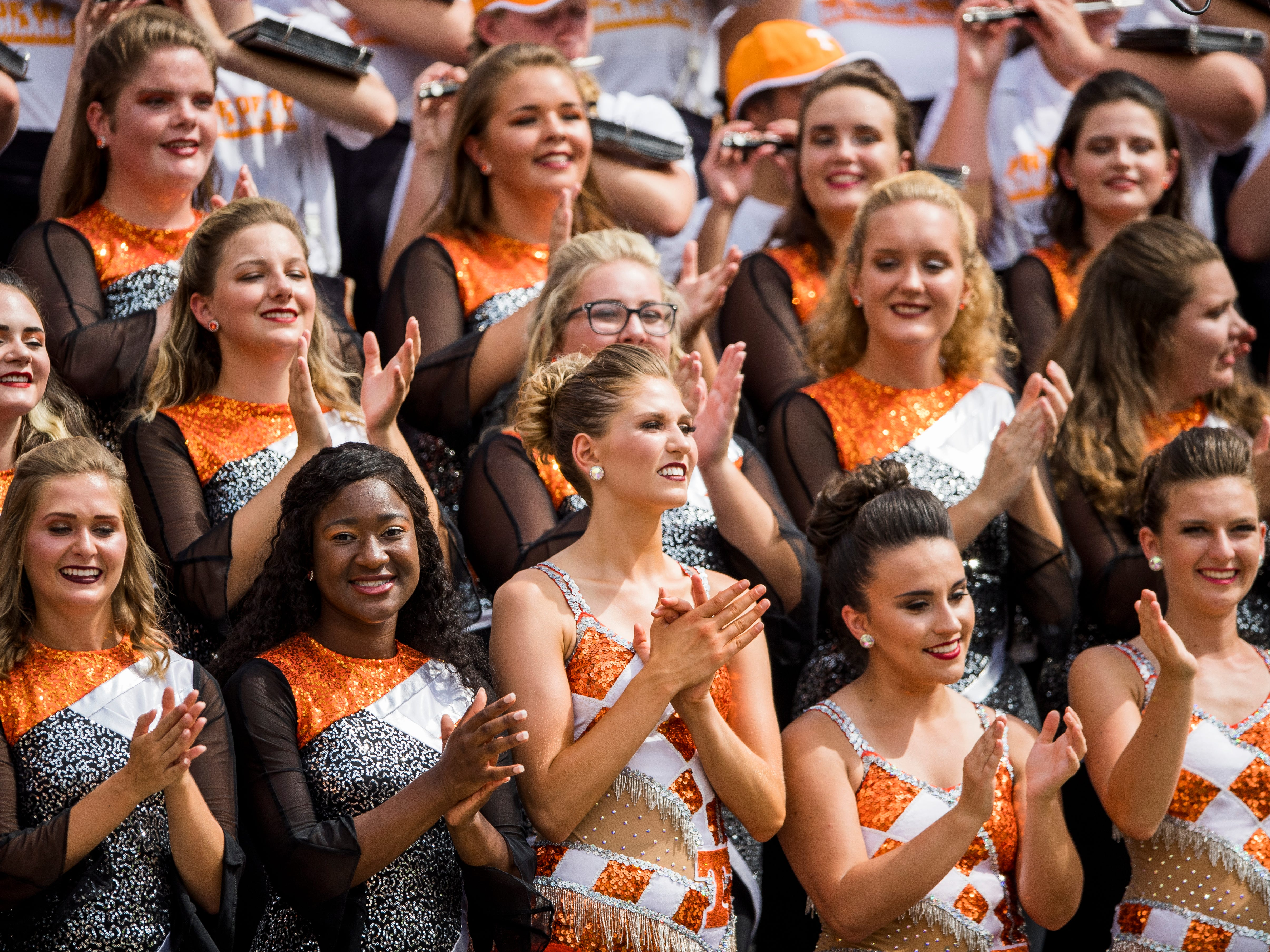 The Pride of the Southland color guard and majorettes before the Tennessee Volunteers' game against ETSU in Neyland Stadium on Saturday, Sept. 8, 2018.