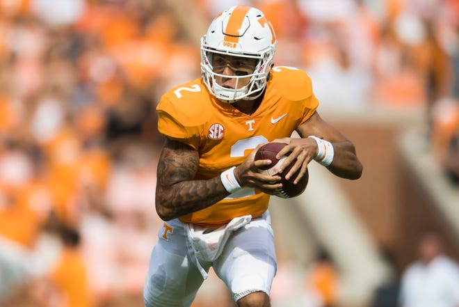 Tennessee quarterback Jarrett Guarantano (2) runs with the ball during a game between Tennessee and ETSU at Neyland Stadium in Knoxville, Tennessee on Saturday, September 8, 2018.