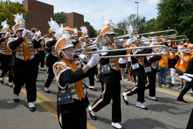 The band arrives for the Vol Walk during pre-game activities before the game against East Tennessee State Saturday, September 8, 2018 at Neyland Stadium in Knoxville, Tenn.