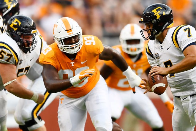 Tennessee defensive lineman Emmit Gooden (93) defends against ETSU quarterback Austin Herink (7) during a game between Tennessee and ETSU at Neyland Stadium in Knoxville, Tennessee on Saturday, September 8, 2018.