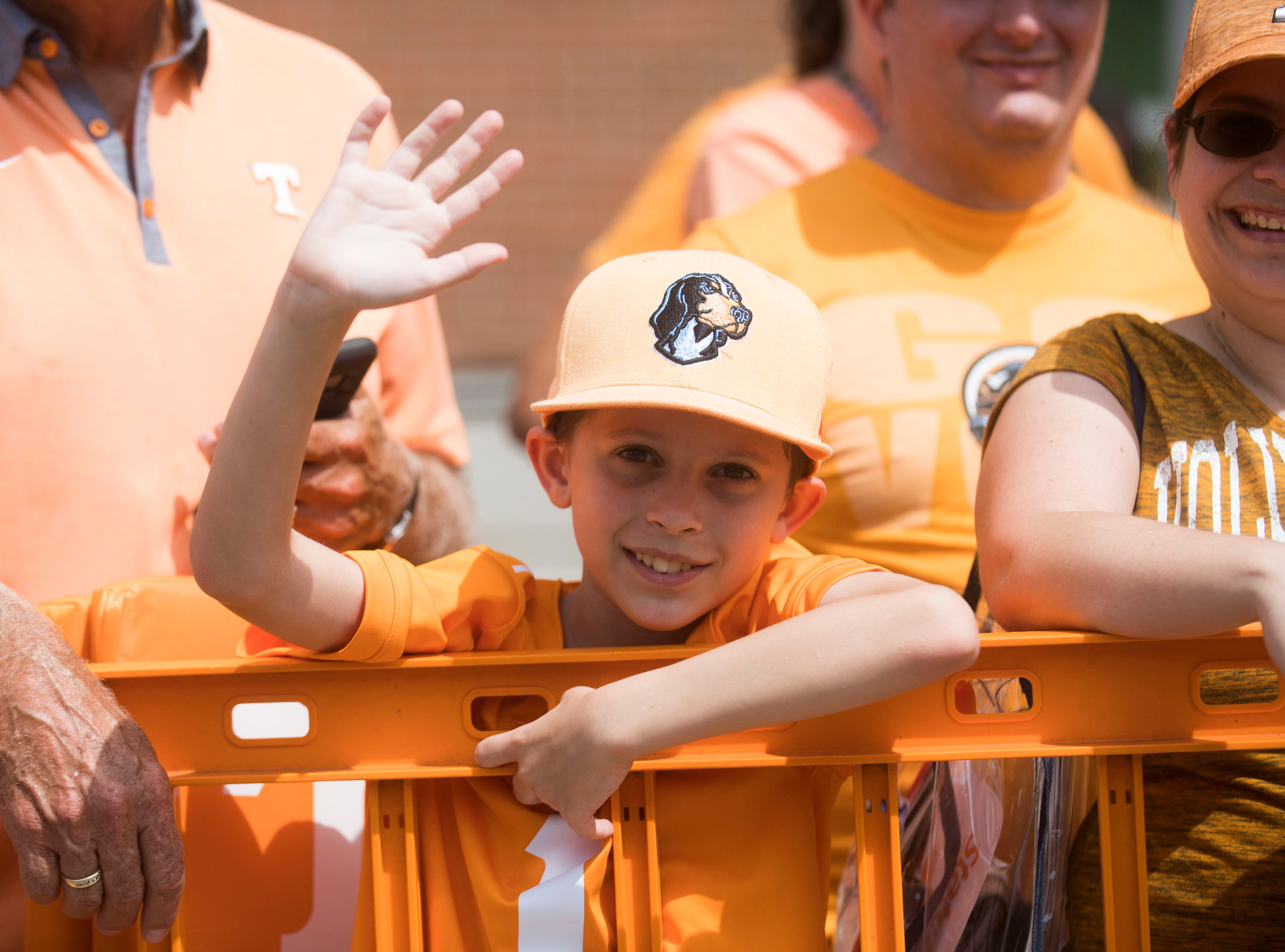 A young Vols fan poses for a photo before a Tennessee Vols football game against ETSU outside Neyland Stadium Saturday, Sept. 8, 2018.