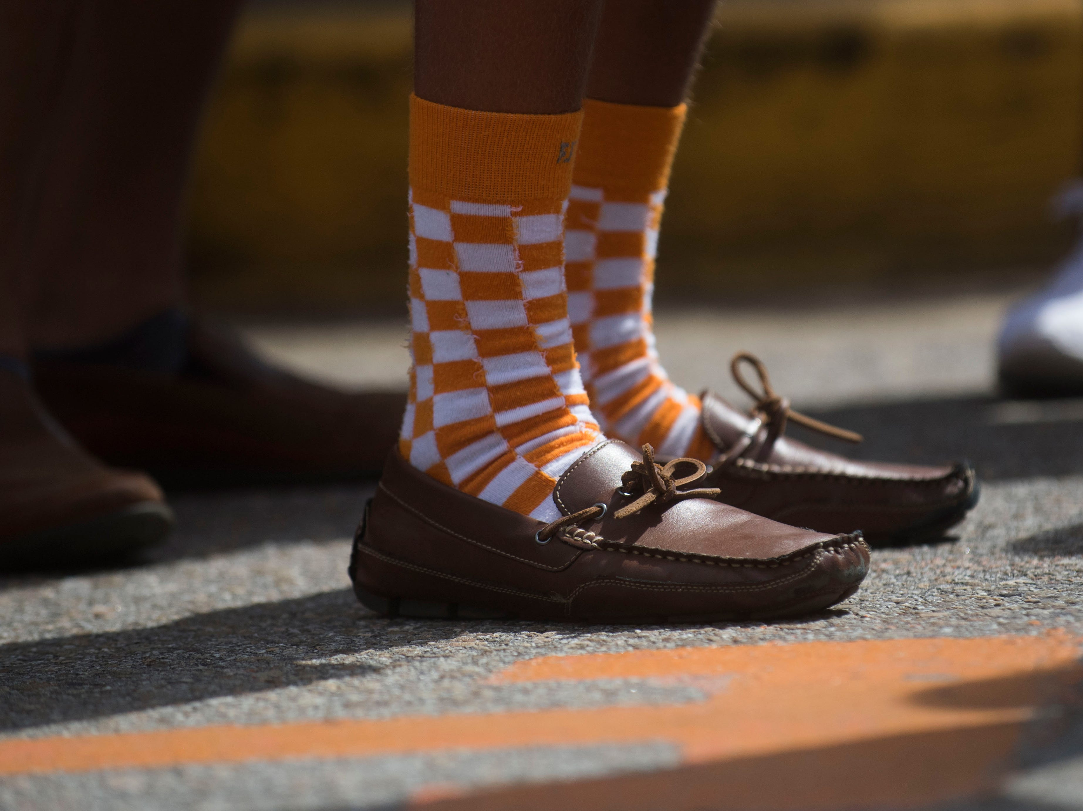Alex Blackburn, of Mobile, Alabama sports checkered socks before a Tennessee Vols football game against ETSU outside Neyland Stadium Saturday, Sept. 8, 2018.