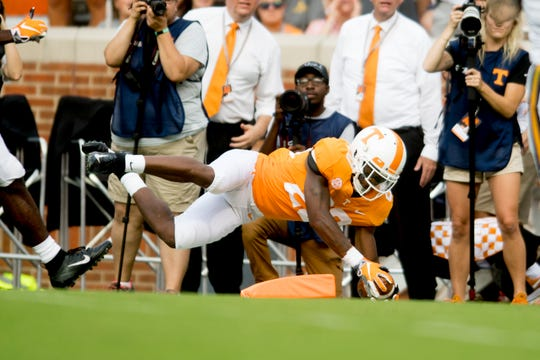 Tennessee defensive back Bryce Thompson (20) makes a play near the endzone during a game between Tennessee and ETSU at Neyland Stadium in Knoxville, Tennessee on Saturday, September 8, 2018.