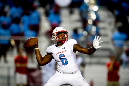 Austin-East's Trey Foster (6) throws a pass during a football game between Fulton and Austin-East at Fulton High School in Knoxville, Tennessee on Friday, September 7, 2018.