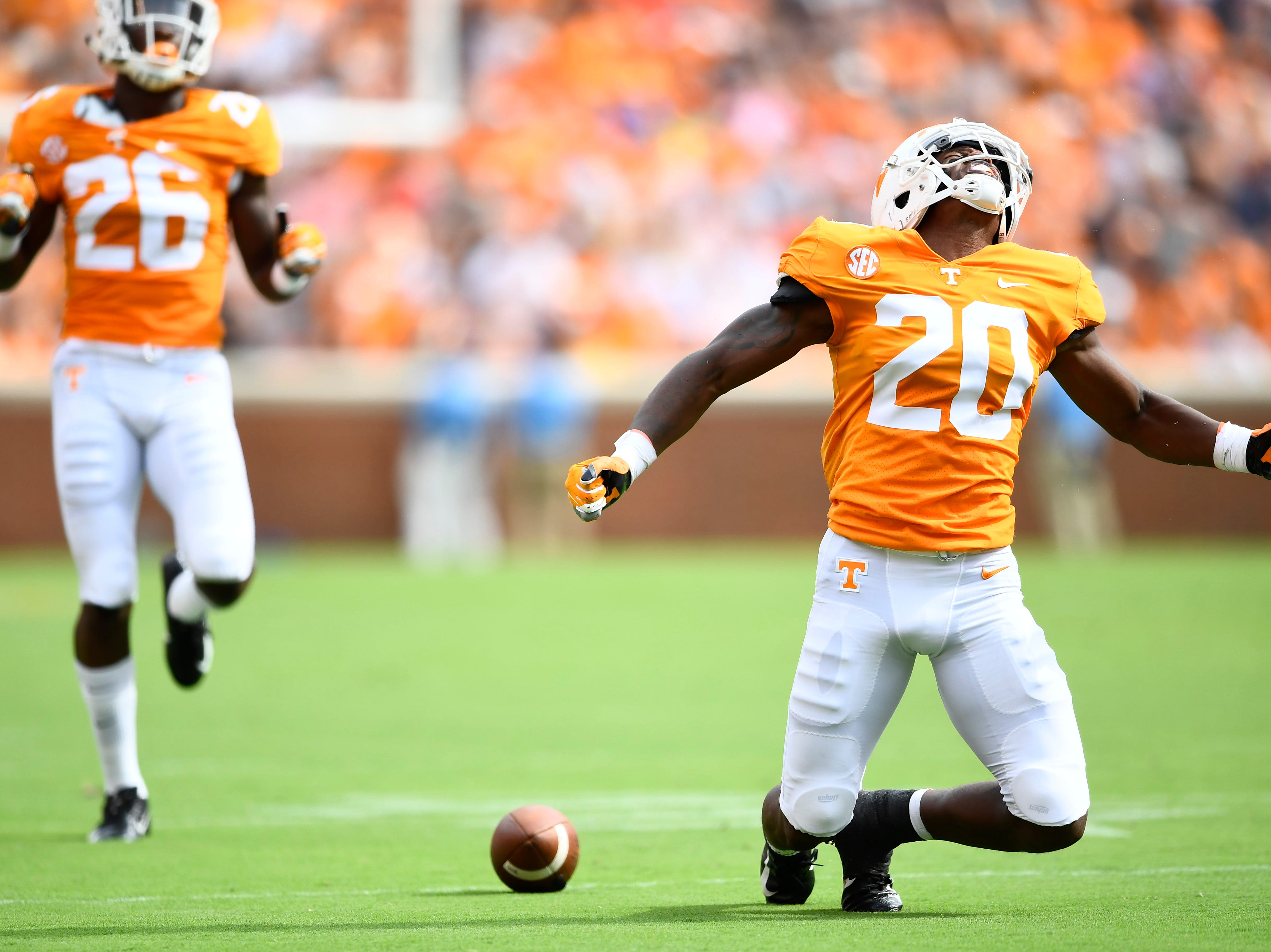 Tennessee defensive back Bryce Thompson (20) reacts after missing a pass during a game between Tennessee and ETSU at Neyland Stadium in Knoxville, Tennessee on Saturday, September 8, 2018.