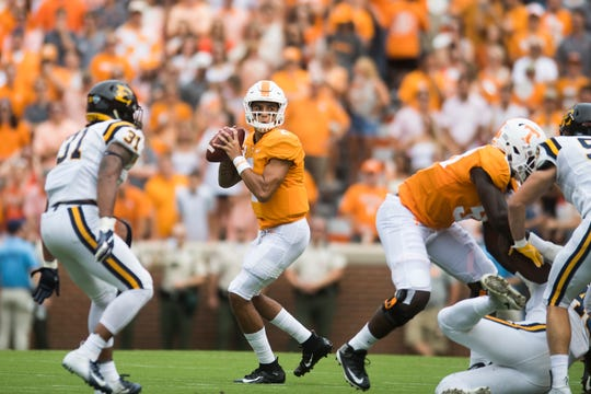 Tennessee quarterback Jarrett Guarantano (2) lines up a pass during a game between Tennessee and ETSU at Neyland Stadium in Knoxville, Tennessee on Saturday, September 8, 2018.