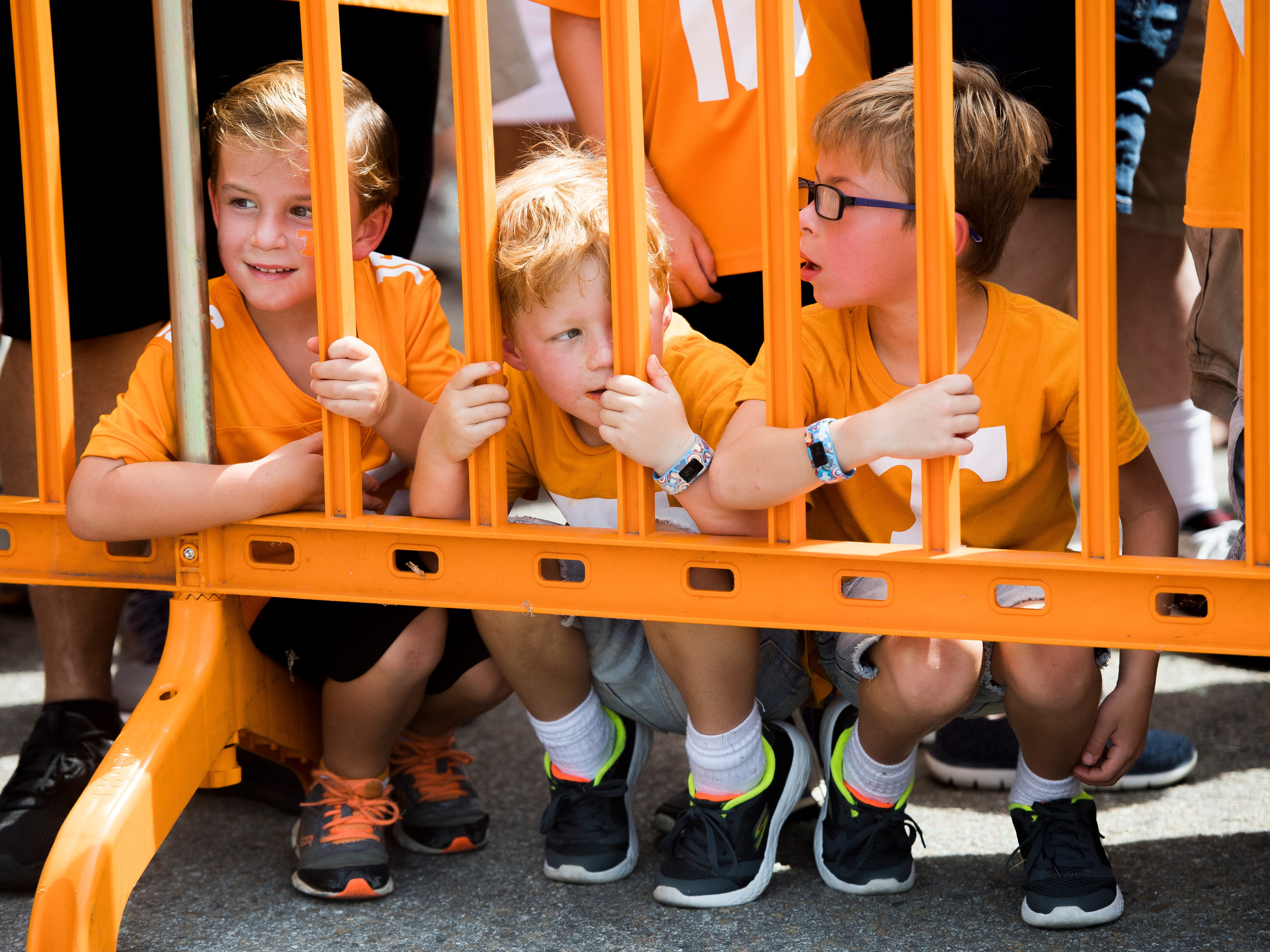 Young Vol fans eagerly wait for the start of the Vol Walk before the Tennessee Volunteers' game against ETSU in Neyland Stadium on Saturday, Sept. 8, 2018.