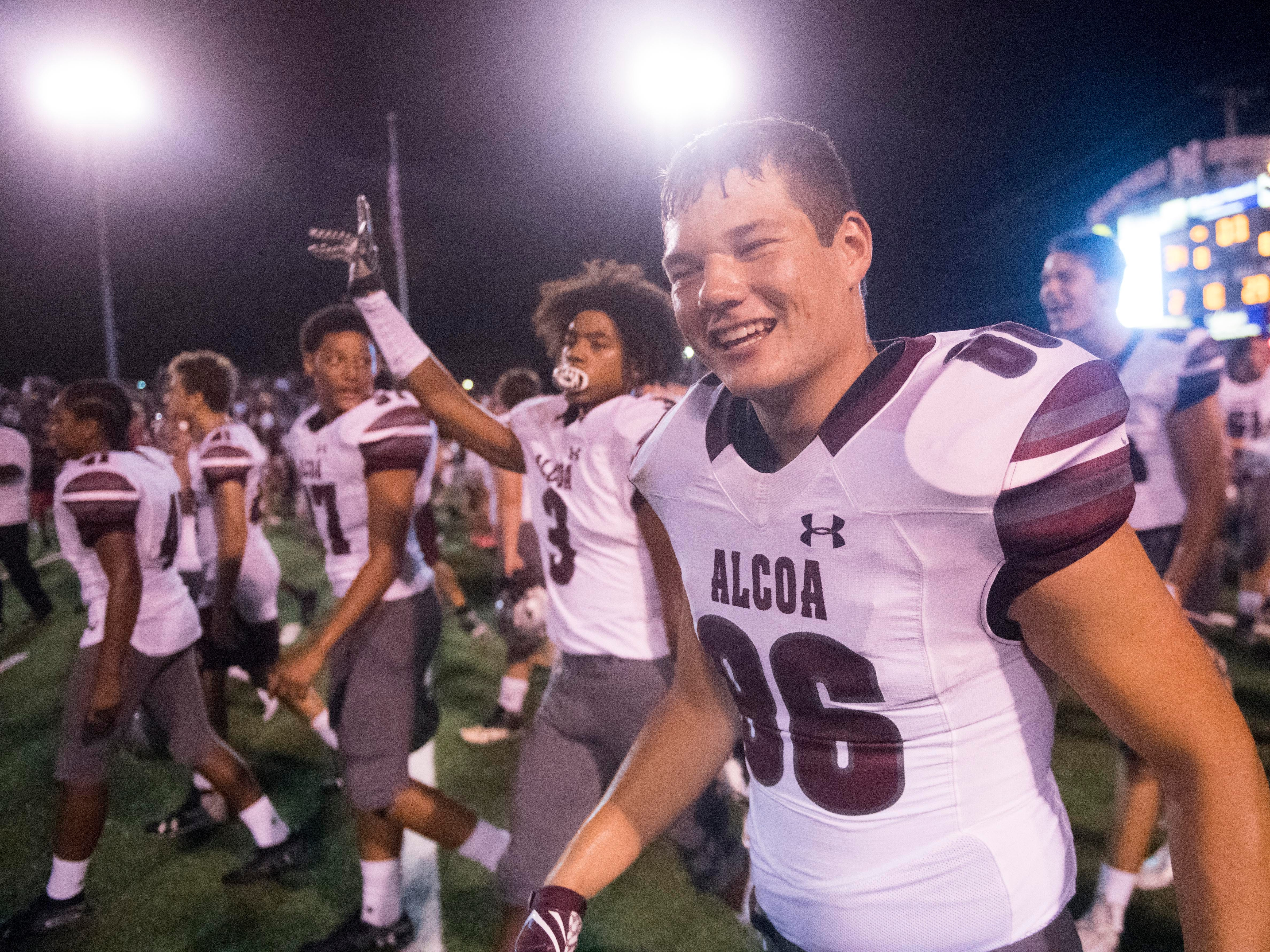 Alcoa's Caleb Copeland (86) celebrates after the win against Maryville on Friday, September 7, 2018.