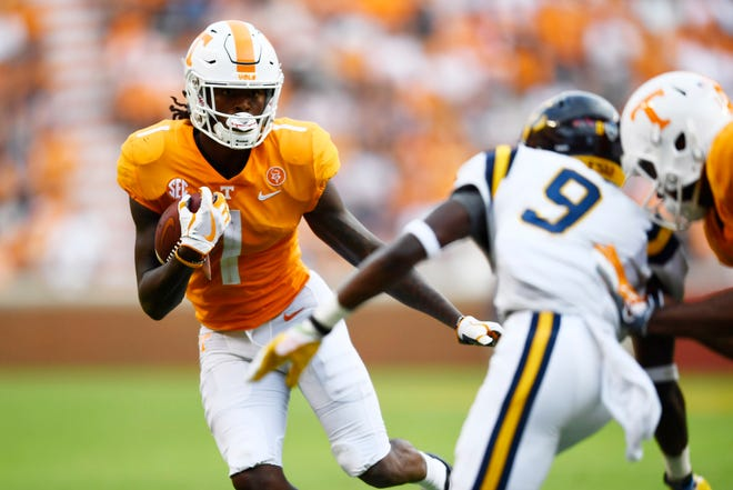 Tennessee wide receiver Marquez Callaway (1) runs with the ball during a game between Tennessee and ETSU at Neyland Stadium in Knoxville, Tennessee on Saturday, September 8, 2018.