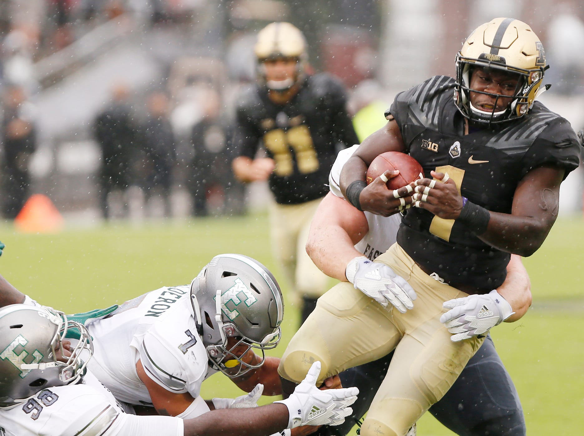 D. J. Knox with a carry against Eastern Michigan in the first half Saturday, September 8, 2018, in West Lafayette. Purdue fell to Eastern Michigan 20-19.