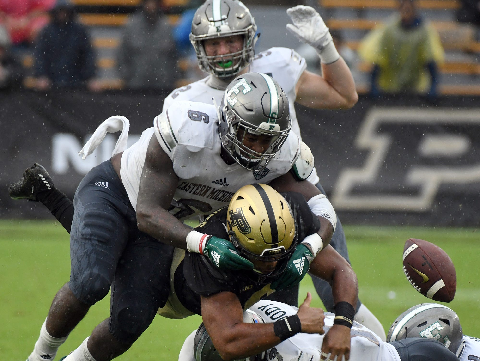 Purdue's Markell Jones fumbles against Eastern Michigan in West Lafayette on September 8, 2018. Purdue lost 20-19.