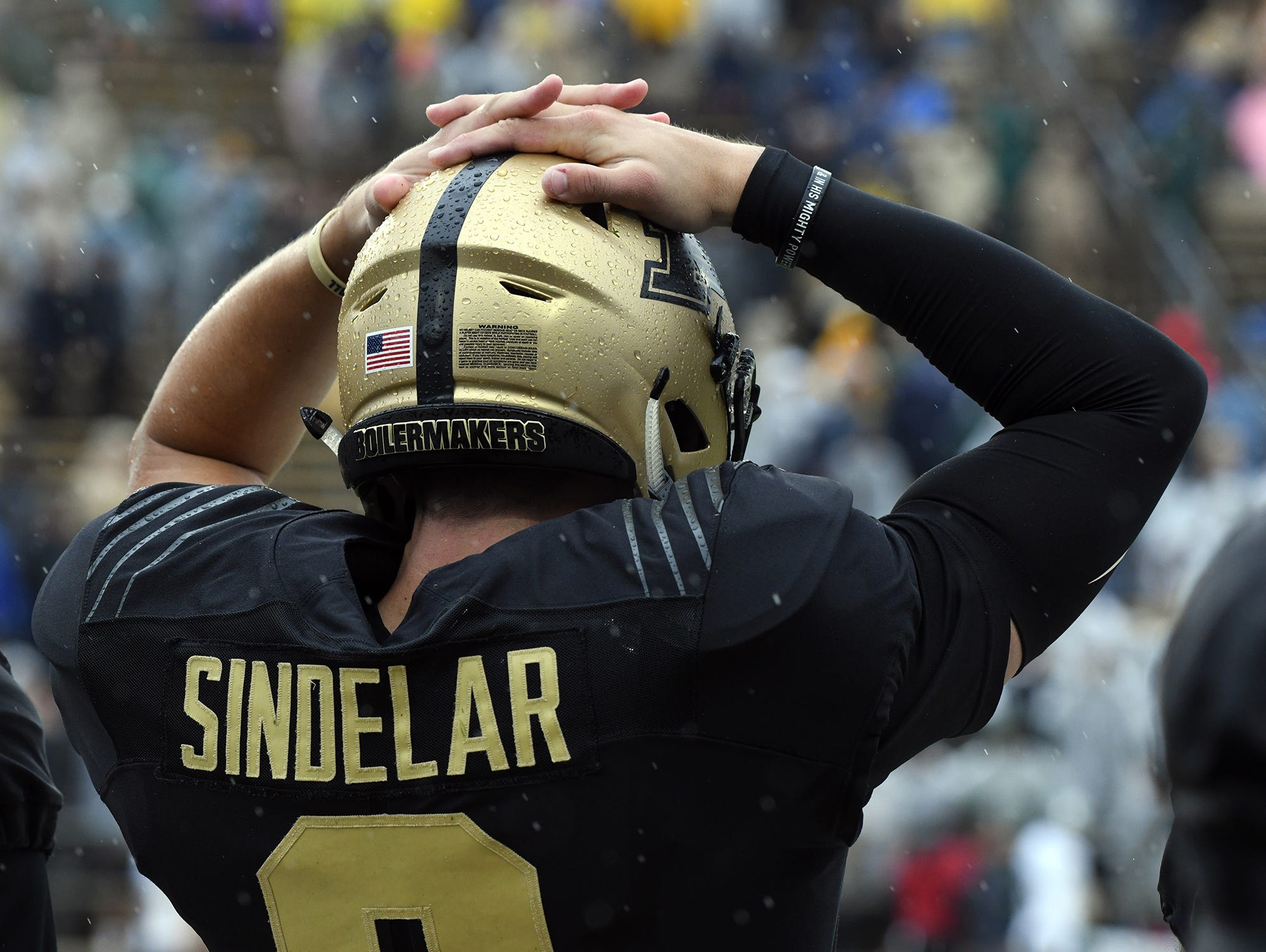 Purdue's Elijah Sindelar reacts to a crucial fourth quarter personal foul in West Lafayette on September 8, 2018. Purdue lost 20-19 to Eastern Michigan.