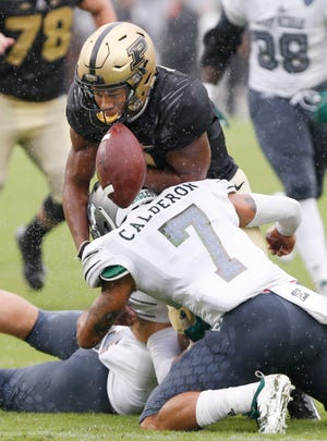 Purdue freshman Rondale Moore fumbles thanks to a hit by Eastern Michigan's Ikie Calderon in the first half last Saturday.