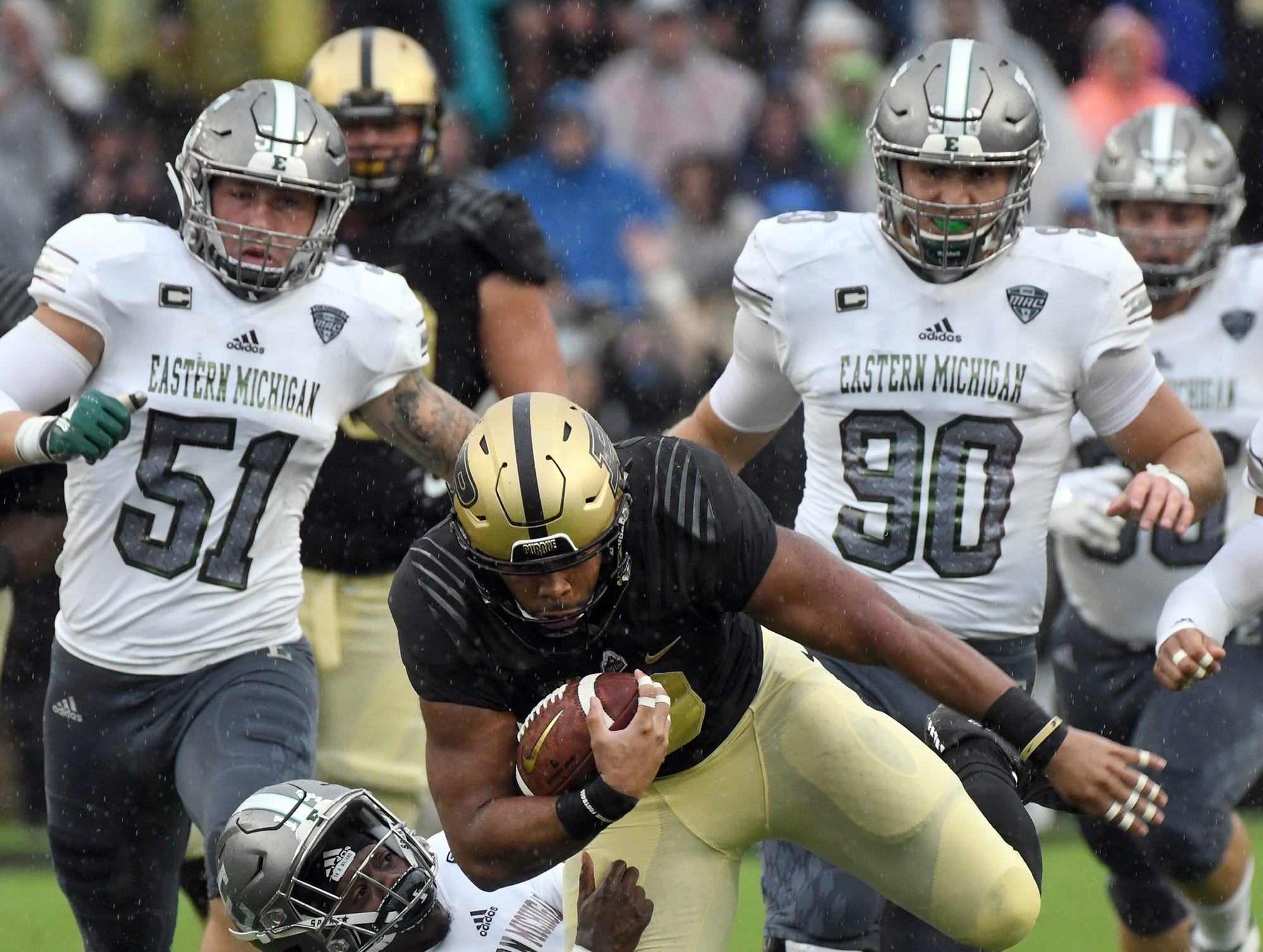 Purdue's Markell Jones runs for yardage against Eastern Michigan in West Lafayette on September 8, 2018. Purdue lost 20-19.