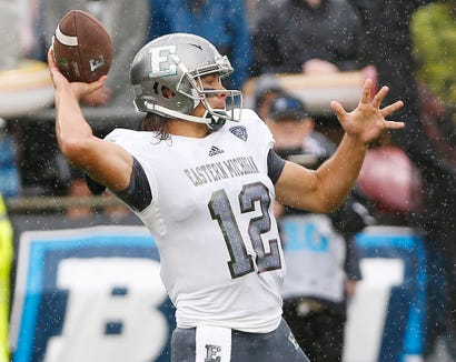 Eastern Michigan quarterback Tyler Wiegers with a pass against Purdue in the first half Saturday, September 8, 2018, in West Lafayette. Purdue fell to Eastern Michigan 20-19.