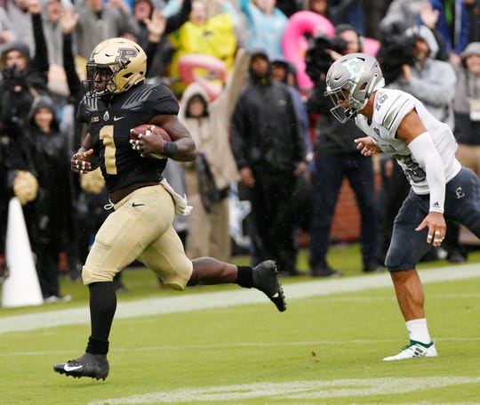 D. J. Knox of Purdue races to the endzone for a score in the fourth quarter against Eastern Michigan Saturday, September 8, 2018, in West Lafayette. Eastern Michigan defeated Purdue 20-19.